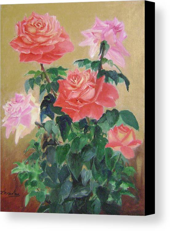 Floral Canvas Print featuring the painting Golden Roses by Lian Zhen