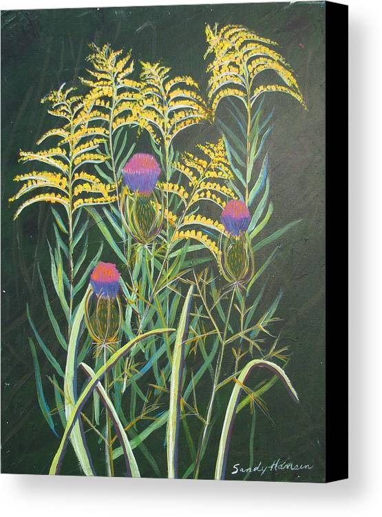 Goldenrod Canvas Print featuring the painting Goldenrod In Summer by Art Nomad Sandra Hansen