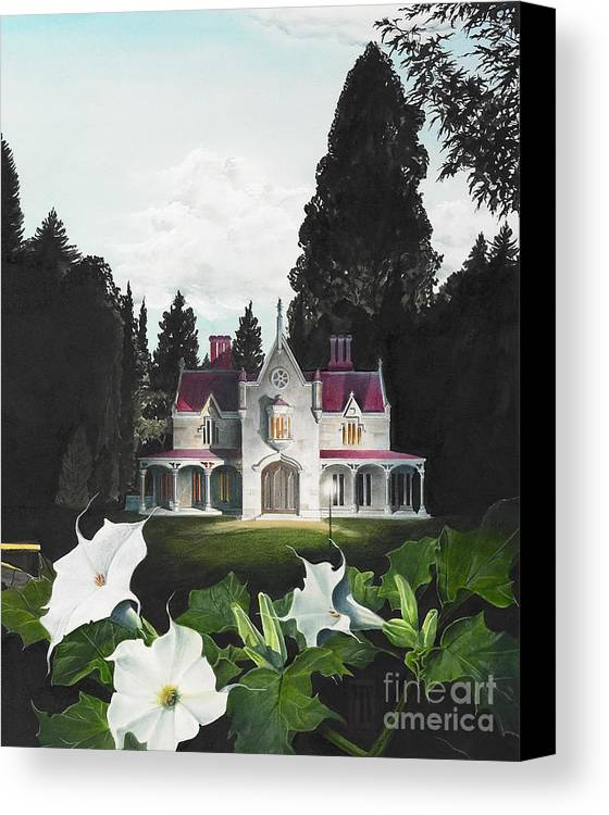 Fantasy Canvas Print featuring the painting Gothic Country House Detail From Night Bridge by Melissa A Benson