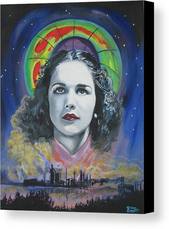 Portrait Canvas Print featuring the painting Green Madonna by Diann Baggett