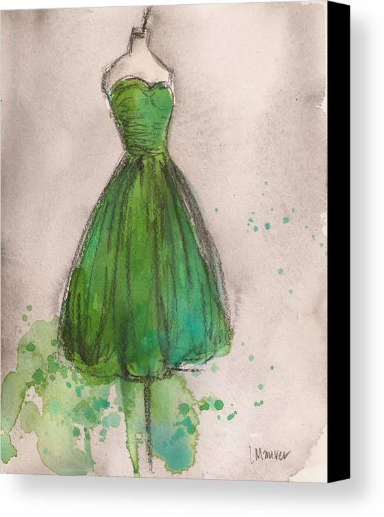 Green Canvas Print featuring the painting Green Strapless Dress by Lauren Maurer