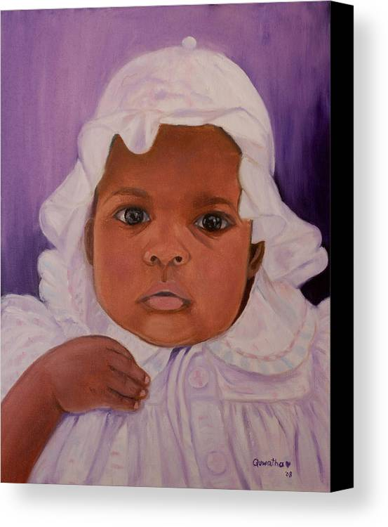 Haiti Canvas Print featuring the painting Haitian Baby Orphan by Quwatha Valentine