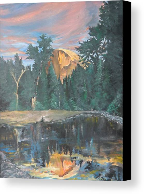 Sunset Canvas Print featuring the painting Half Dome Sunset by Travis Day