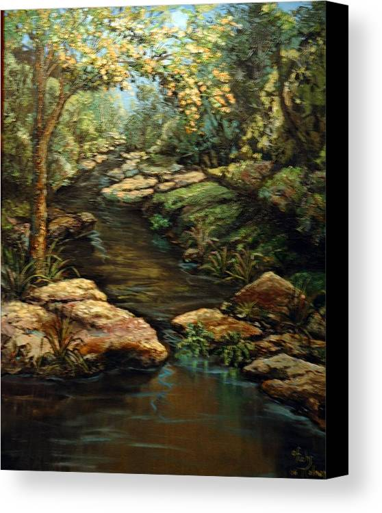 Landscape Canvas Print featuring the painting Harvey's Creek by Cathy Fuchs-Holman