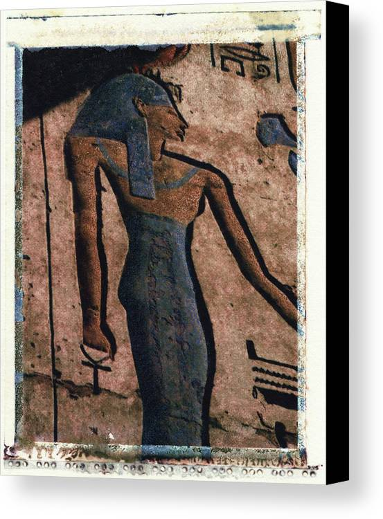 Polaroid Transfer Canvas Print featuring the photograph Hathor Holding The Ankh Sign by Bernice Williams