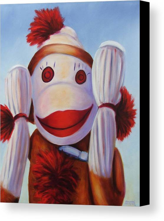 Children Canvas Print featuring the painting Hear No Bad Stuff by Shannon Grissom