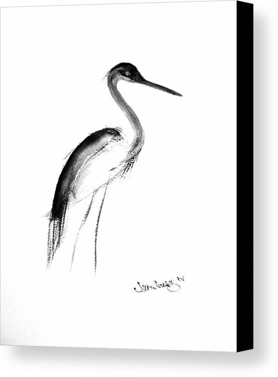 Sumi-e Canvas Print featuring the painting Heron by Sibby S