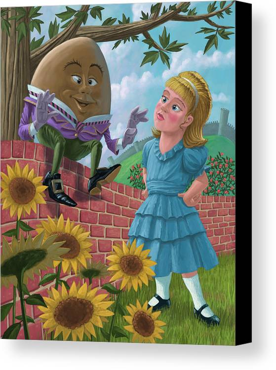 Humpty Canvas Print featuring the painting Humpty Dumpty On Wall With Alice by Martin Davey