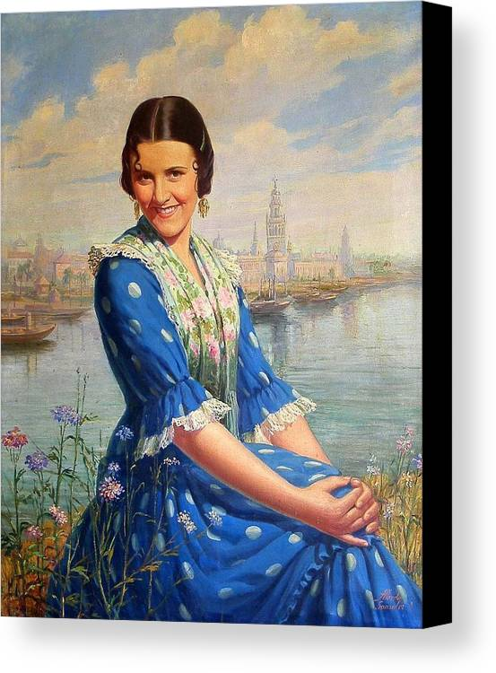 Singer Canvas Print featuring the painting Imperio Argentina by Alfredo Gonzalez