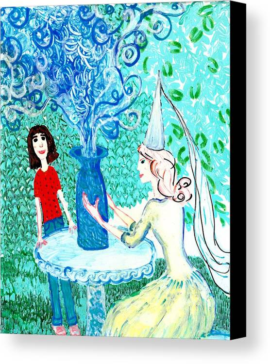 Sue Burgess Canvas Print featuring the painting In The White Lady's Cave by Sushila Burgess