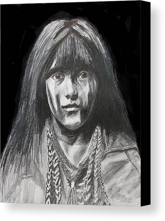 Original Drawing Canvas Print featuring the drawing Indian Princess by Stan Hamilton