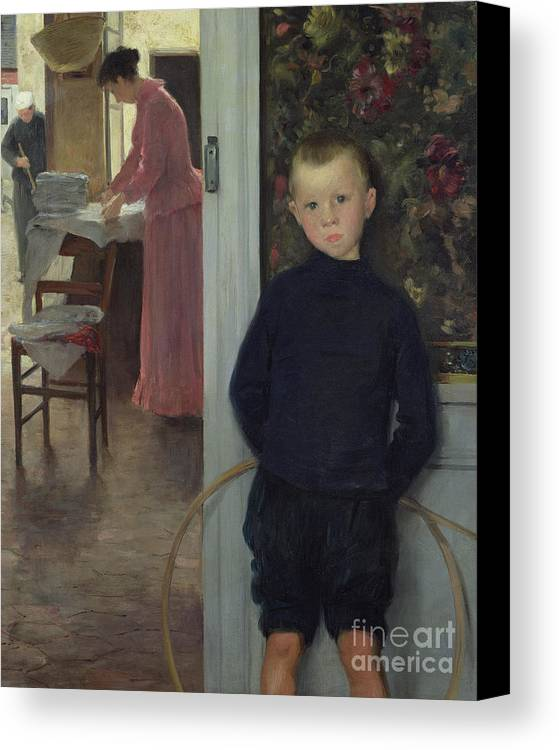 Interior Canvas Print featuring the painting Interior With Women And A Child by Paul Mathey