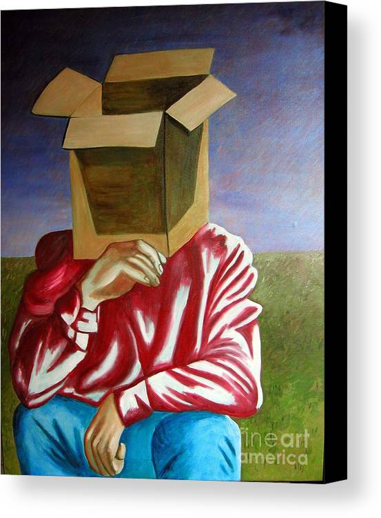 Identity (symbolic Art) Canvas Print featuring the painting Is The Self Just An Empty Box by Tanni Koens