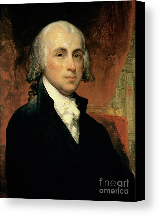 James Madison (oil On Canvas) By American School (19th Century) Canvas Print featuring the painting James Madison by American School