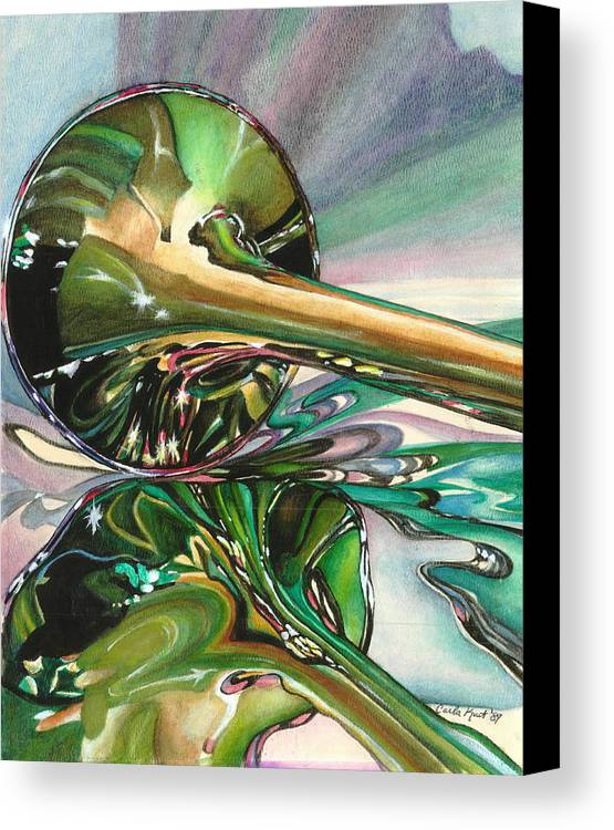Watercolor Canvas Print featuring the painting Jazz Shine by Carla Kurt