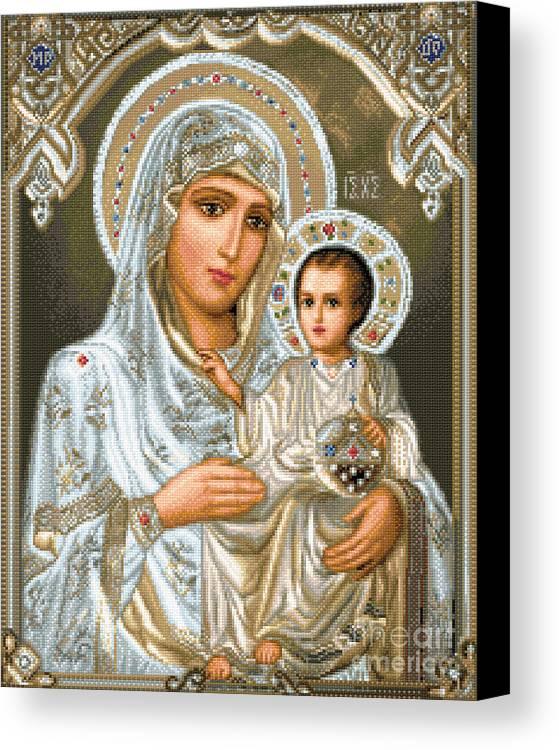 Jerusalem Theotokos Orthodox Icon Religious Gobelin Needlework Jesus Maria Holy Mother Canvas Print featuring the tapestry - textile Jerusalem Theotokos by Stoyanka Ivanova