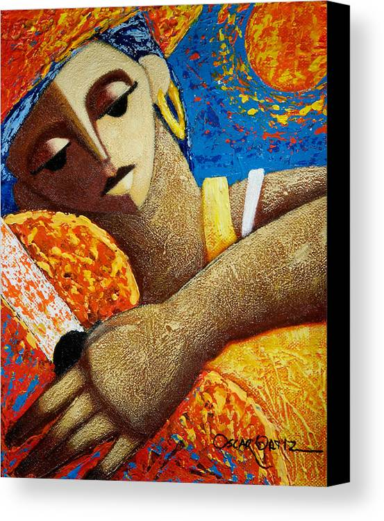 Puerto Rico Canvas Print featuring the painting Jibara Y Sol by Oscar Ortiz