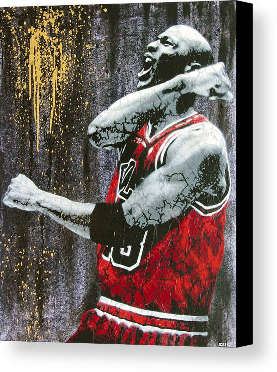 Michael Jordan Canvas Print featuring the painting Jordan - The Best There Ever Was by Bobby Zeik