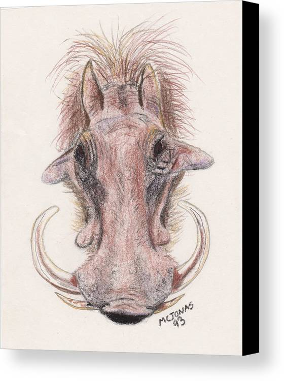 Warthog Canvas Print featuring the drawing Just Another Pretty Face by Marqueta Graham