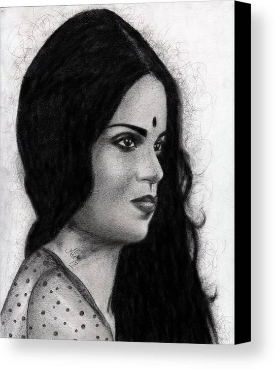 Bobby Dar Canvas Print featuring the drawing Kangna Ranaut by Bobby Dar