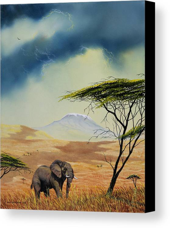 Landscape Canvas Print featuring the painting Kilimanjaro Bull by Don Griffiths