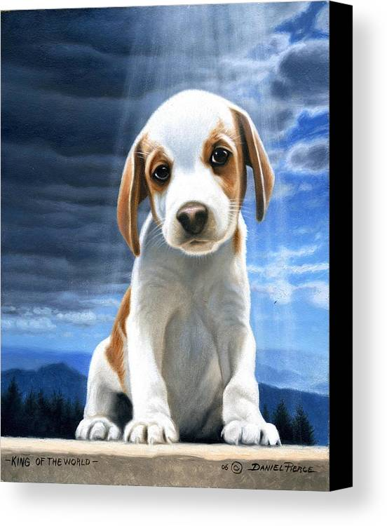 Dog Beagle Puppy Sunray Painting Original Blue Sky Canvas Print featuring the painting King Of The World-beagle Puppy by Daniel Pierce