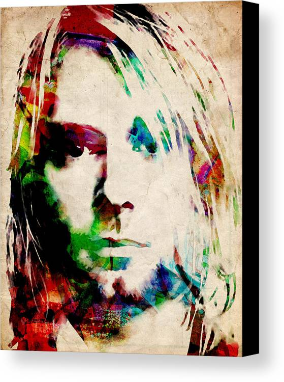 Kurt Cobain Canvas Print featuring the painting Kurt Cobain Urban Watercolor by Michael Tompsett