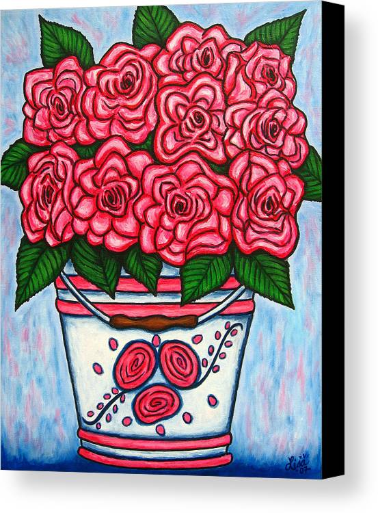 Rose Canvas Print featuring the painting La Vie En Rose by Lisa Lorenz