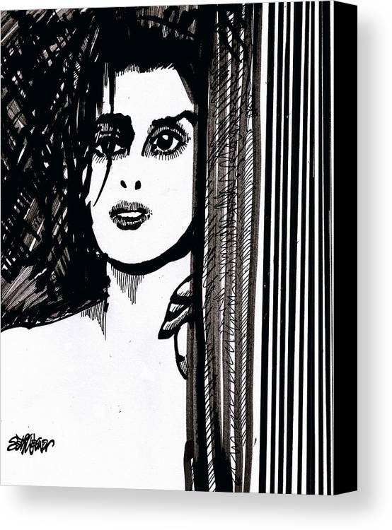 Sad Lady Canvas Print featuring the drawing Lady At The Door by Seth Weaver