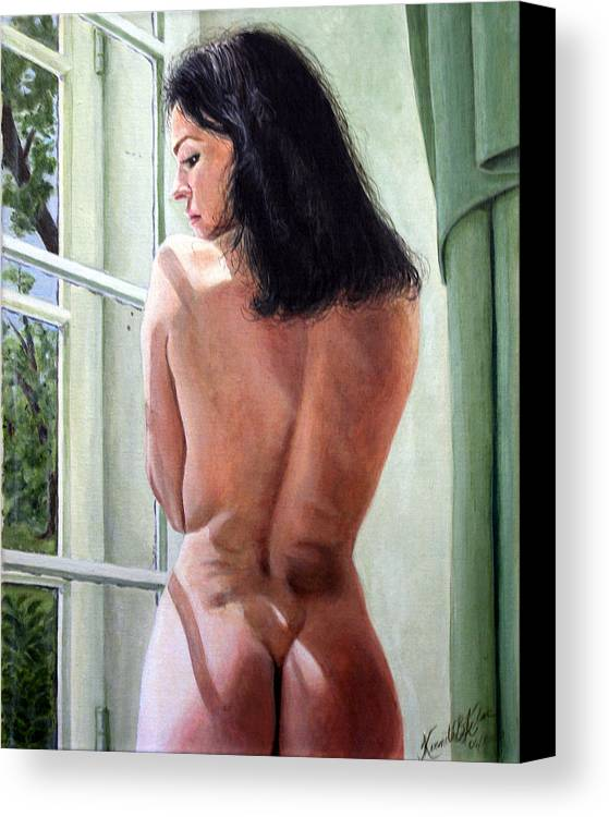 Nude Canvas Print featuring the painting Lady By Window by Kenneth Kelsoe