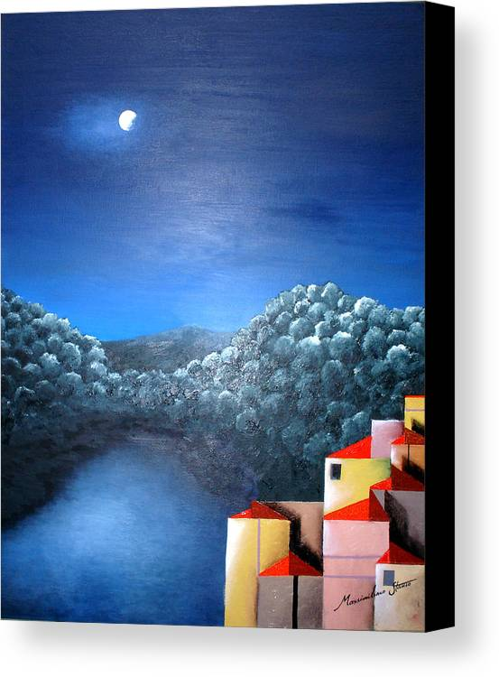 Italy Canvas Print featuring the painting Lake Como by Massimiliano Stanco