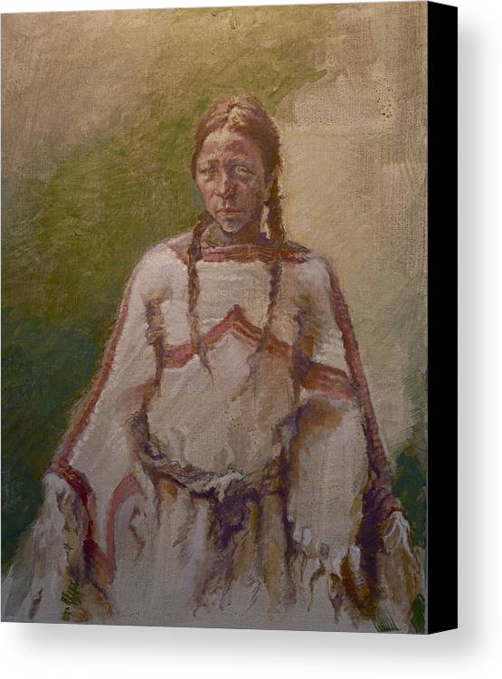 One Wnative American Canvas Print featuring the painting Lakota Woman by Ellen Dreibelbis