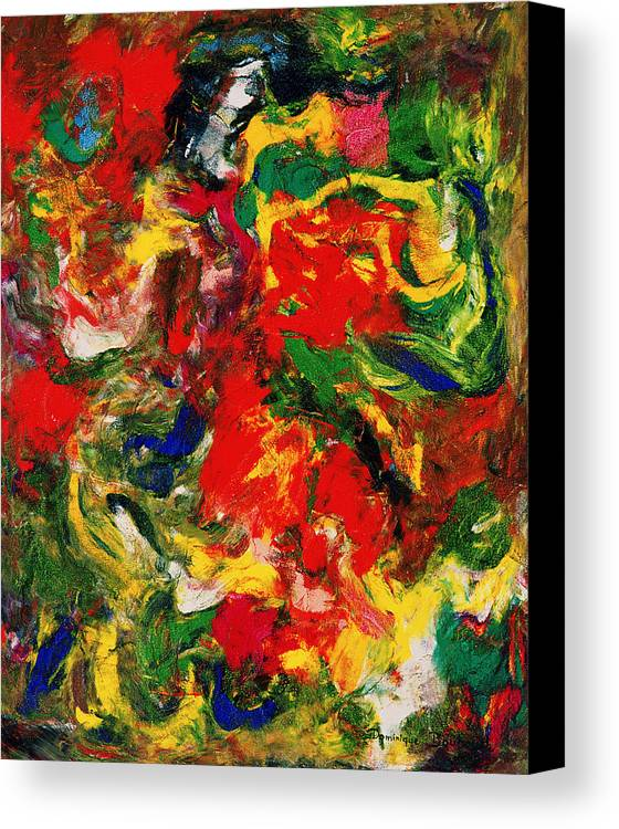 Abstract Canvas Print featuring the painting Le Danseur Et Les Animaux by Dominique Boutaud