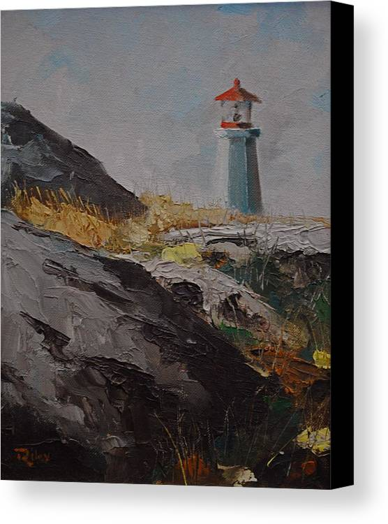 Printed And Original Realistic Genre Landscape Paintings And Cards Tree Paintings And Cards Sky Paintings And Cards Marine Paintings And Cards Paintings Canvas Print featuring the painting Lighthouse Peggys Cove Ns by Chris Riley