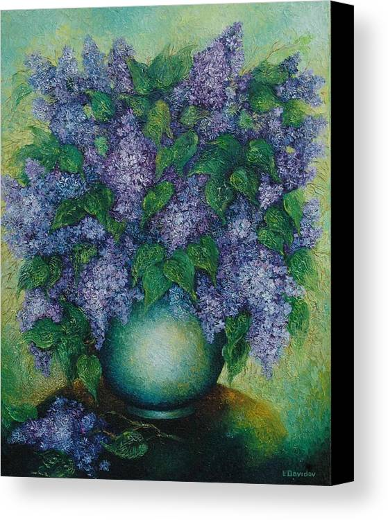 Flowers Canvas Print featuring the painting Lilacs No 2. by Evgenia Davidov