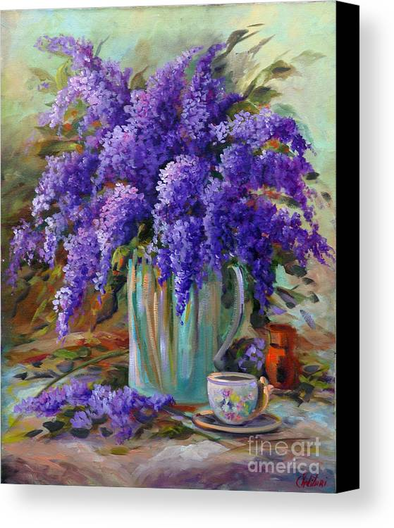 Florals Canvas Print featuring the painting Lilacs Still Life by Gail Salitui