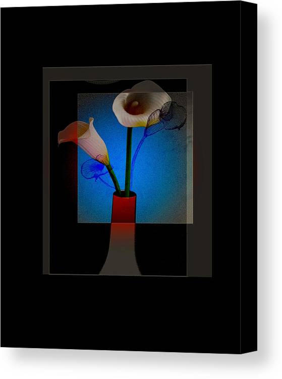 Lillies Flowers Vase Photo Sketch Canvas Print featuring the photograph Lillies by Lucrecia Cuervo