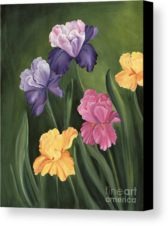 Iris Canvas Print featuring the painting Lill's Garden by Carol Sweetwood