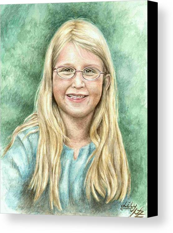 Girl Canvas Print featuring the painting Lily by Nicole Zeug