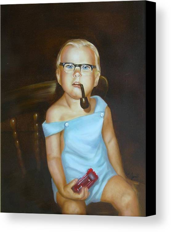 Portrait Canvas Print featuring the painting Little Firefighter by Joni McPherson