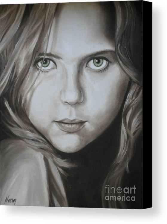 Portrait Canvas Print featuring the painting Little Girl With Green Eyes by Jindra Noewi