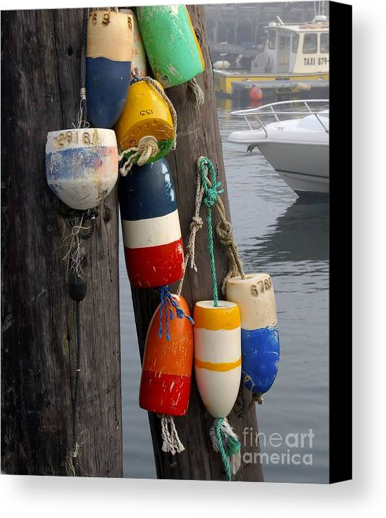 Lobster Canvas Print featuring the photograph Lobster Buoy At Water Taxi Pier by Faith Harron Boudreau