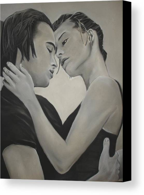 Charcoal Canvas Print featuring the drawing Love And Longing by Kerra Lindsey