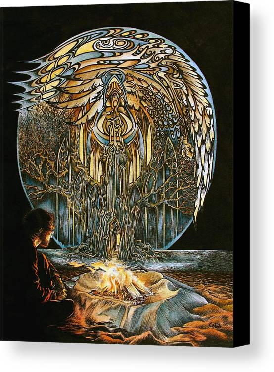 Full Moon Canvas Print featuring the painting Lunar Sanctuary by Caleb Hamm
