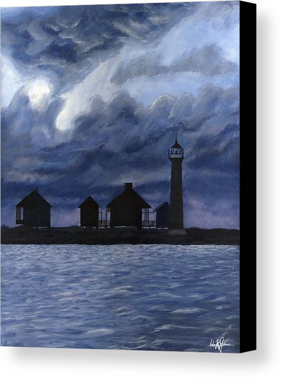 Landscape Canvas Print featuring the painting Lydia Ann Lighthouse by Adam Johnson