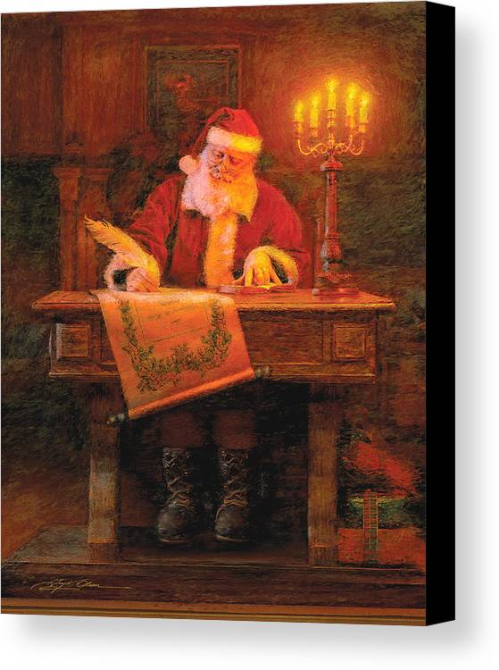 Christmas Canvas Print featuring the painting Making A List by Greg Olsen