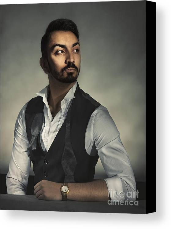 Portrait Canvas Print featuring the photograph Male Portrait by Amanda Elwell