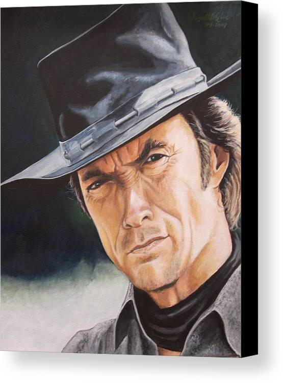Cowboy Canvas Print featuring the painting Man With No Name by Kenneth Kelsoe
