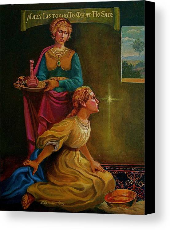 Mary And Martha Bible Story Canvas Print featuring the painting Mary And Martha by Alan Carlson