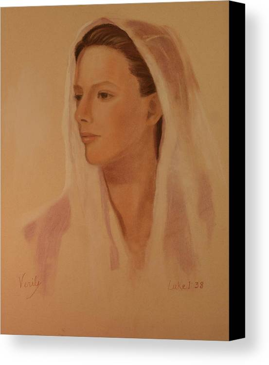 Virgin Mary Canvas Print featuring the painting Mary The Handmaiden Of The Lord by Jan Cline-Zimmerman